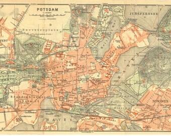 Potsdam Germany 1925 City Map, Street Plan
