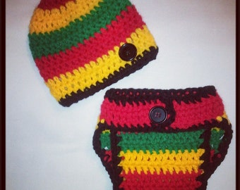 Baby Rasta Diaper Cover and Hat set, great for photo prop, new baby, first pictures