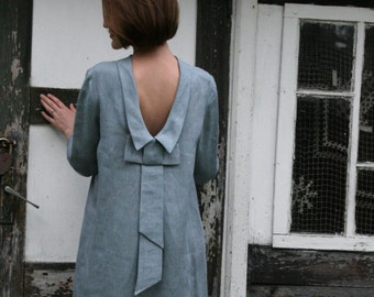 Linen Dress With Bow at Back/ Linen Dress Midi/ Knee Length Dress With Open Back Dress / Dress Eco Friendly