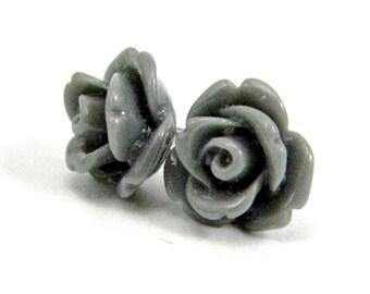 Smoke Gray Earrings  Glossy Rose Cabochon Titanium Stud Earring Hypoallergenic Minimalist Jewelry