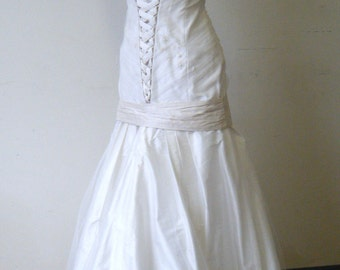 Clearance Sample: One-Of-A-Kind wedding gown, Off White illusion over Silk dupioni  handmade in Canada