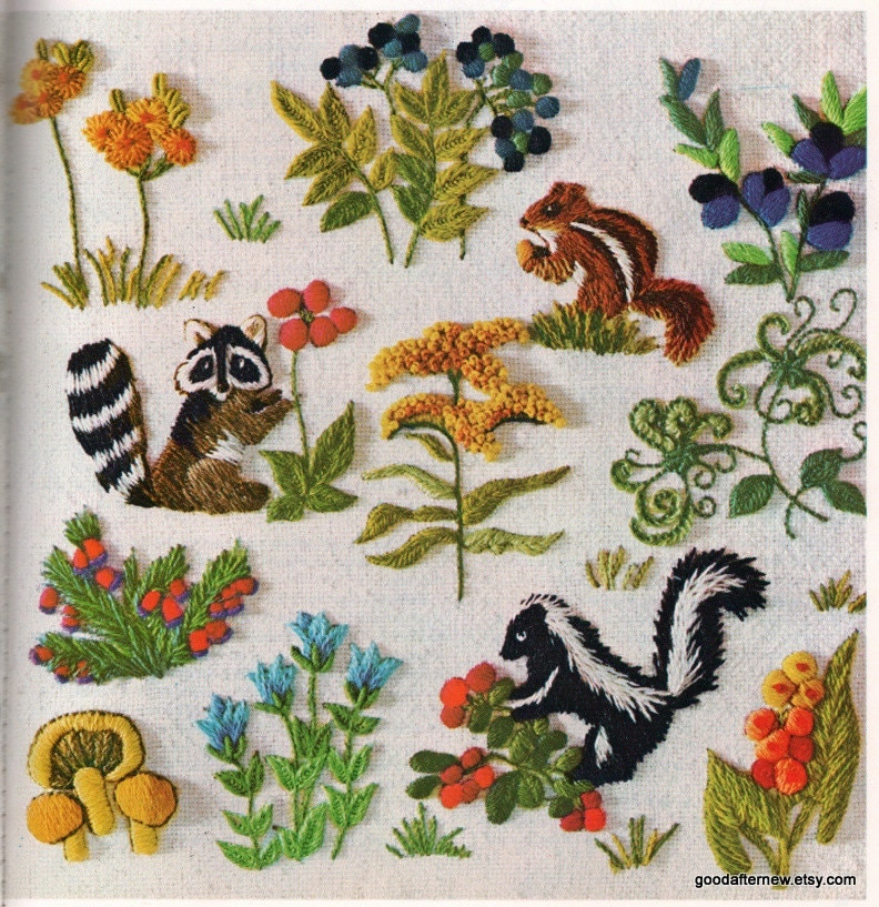 Two crewel embroidery patterns vintage needlepoint woodland