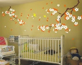 blossom floral with Flying Birds -Vinyl Wall Decal,pink flower, wall decal tree nursery wall decal baby wall decal children wall decal