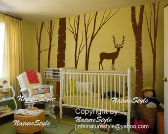 winter tree wall decals, wall mural children wall sticker nursery graphic vinyl wall art party decor-Winter Trees with Deer and Letters