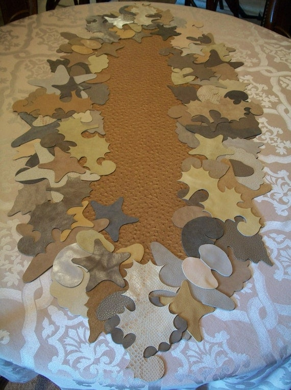 Leather and Suede Table Runner with Beach Theme
