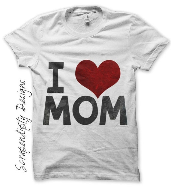 Iron on Mom Shirt PDF - Daughter Iron on Transfer / Kids Girls Clothing Tops / Mothers Day Shirt / Toddler Son Clothes / Love Mom IT184-P