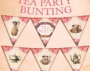 TEA PARTY BUNTING digital printable bunting download for scrapbooking, party printables and graphic design.
