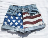 American flag shorts high waisted jean cut offs Levi's Vintage hand painted - feathers2gether