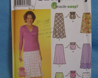 """Simplicity 7090 Misses' size 4,6,8, 10 pull on bias skirts with length variations waist  22, 23, 24, 25"""" and purse uncut sewing pattern"""