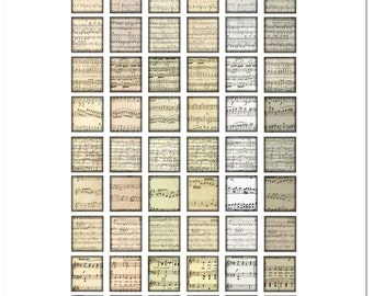 Classical Sheet Music Notes / 54 Scrabble Tile Images (on one sheet) / Printable Digital Collage / .75x.83 sized tiles / Sepia Sheet Music