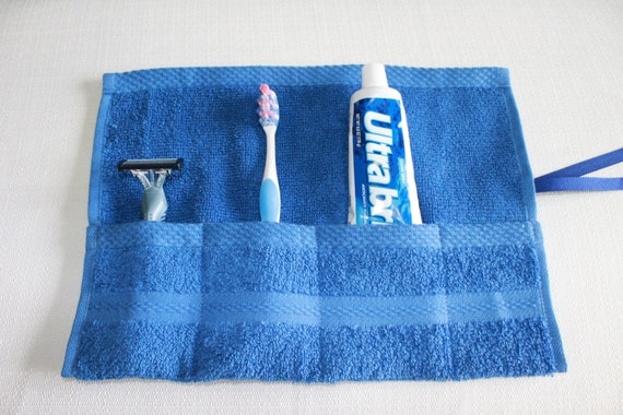 Travel Toothbrush Roll, Toiletry Roll, Travel Roll, Royal Blue, Gift Under 10, free shipping