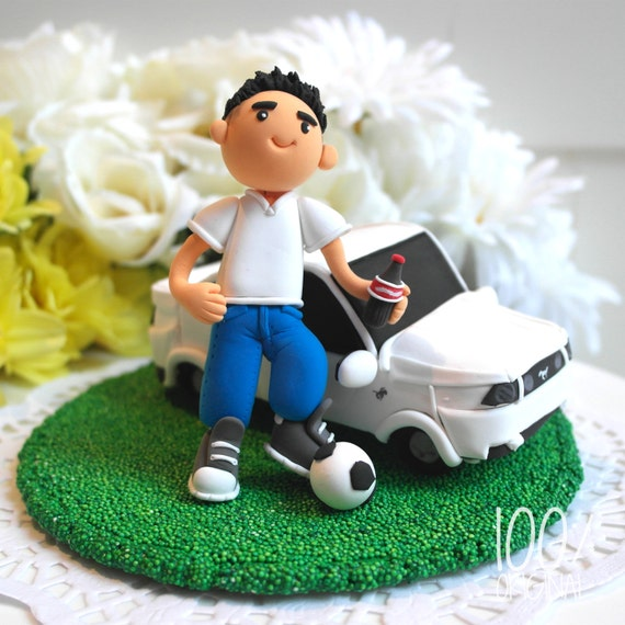 Custom Birthday Cake Topper Boyfriend With Mustang Car