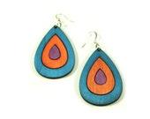 Big Blue, Purple and Orange Wood Earrings in Summer Colors, Drop Earrings with Nickel Free Fish Hooks