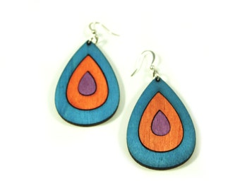 Big Blue, Purple and Orange Wood Earrings in Summer Colors, Drop Earrings with Nickel Free Fish Hooks