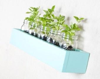 Box Shelf Wall Organizer - Aqua Ocean Blue - Vertical Garden, Toy Storage, Book Shelf, Bathroom Storage - Custom Options - 16 INCH
