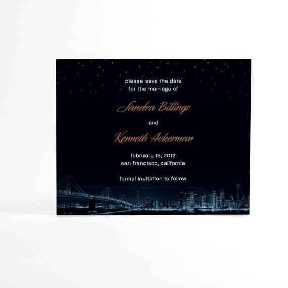 San Francisco Save the Date Cards, City Skyline with Night Stars, Urban Wedding, Downtown Wedding, Golden Gate Bridge Wedding Announcements