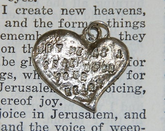 Bible Quote on Heart Shaped Sterling Silver pendant