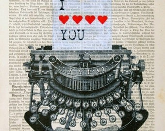 LOVE LETTER print poster mixed media painting illustration wall decor