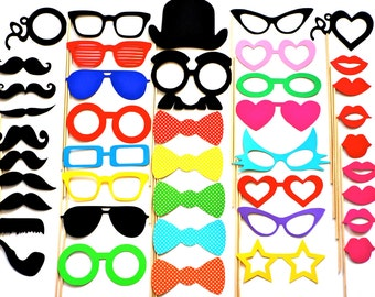 Wedding Photo Booth Props - 42 Piece Party Prop Set - Photobooth Props - Mustaches, Glasses, Lips, Swiss Dot Bow Ties and More