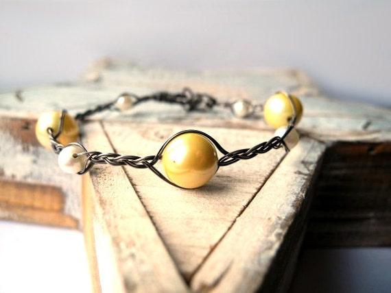 RESERVED FOR ZELDA Wedding Pearl Bracelet- Silver braid bracelet- White Yellow Freshwater Pearls- Bridal Bracelet -Beach Wedding Bracelet