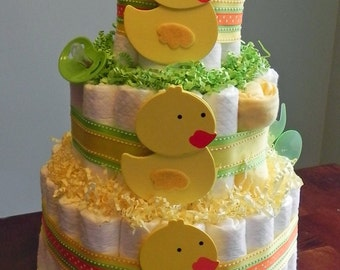 Yellow Duckie Diaper Cake  - Three Tier Baby Shower Gift or Centerpiece yellow green neutral duck