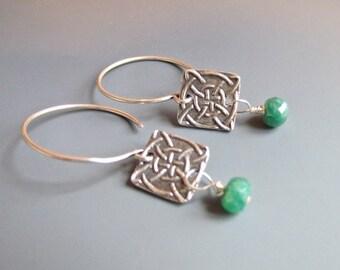 Sterling Silver - Celtic Knot - Genuine - Emerald - Earrings - Drop - Dangle - Pam Hurst - Jewelry