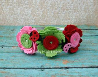Ladybug Headband,Felt Flower Headband,Pink Red Green,Baby Headband,Toddler,Girls,Ladybug Hair Bow,Photo Prop