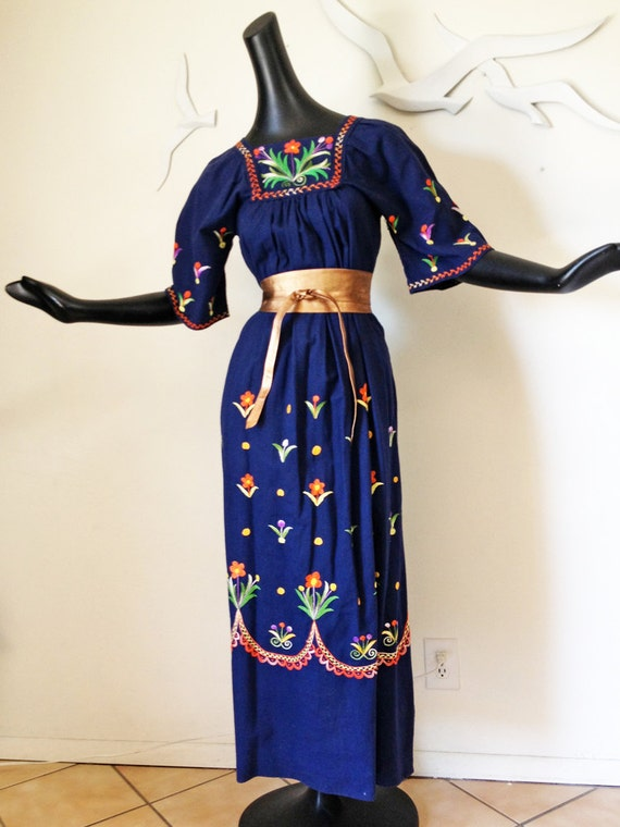RESERVED for LAURA Vintage 1970s Hand Embroidered Hippie Hippy Boho Caftan Kaftan Dress Maxi Length Blue Mexico Mexican Festival Dress