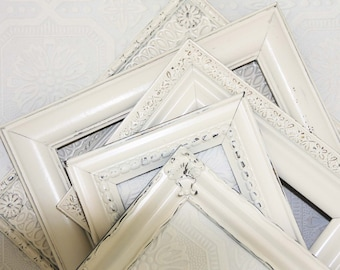 Shabby Chic Picture Frame 8x10 Vintage Ivory Hand Painted Distressed