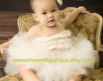 Sweet Cream Tutu Set Cream Tutu And Headband Cream Newborn Tutu Cream Baby Tutu Ivory Tutu Set Ivory Baby Girl Tutu Set Baby Photo Prop