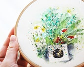 Botanical original watercolor, hoop art, 6.5''