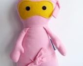 Ninja handmade fabric doll - BABY PINK NINJA