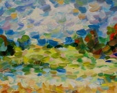 Original painting, landscape, fauvism, impressionism, semiabstract, fields, country side, contemporary art.