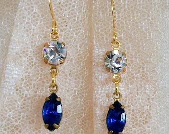 """HANDMADE GLASS Earrings - """"Blue Eyes"""" - All Vintage Blue & Crystal Rhinestones, Small Beauties, Elegant Heirlooms"""