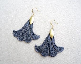 Grey Lace Gold Earrings