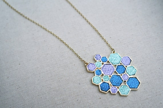 Leather Necklace Hand Painted Honeycomb in Blue Purple and Mint Green