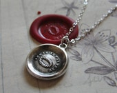 Encouragement wax seal necklace with laurel wreath - Triumph Victory - antique wax seal jewelry