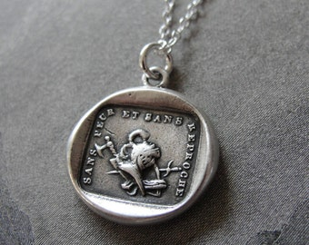 Courage to Fight - French antique wax seal necklace - Without Fear or Blame - in fine silver
