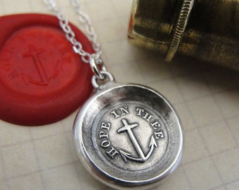 Anchor Wax Seal Necklace Hope In Thee - antique wax seal charm jewelry with mariners cross by RQP Studio