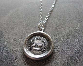 Teapot and Kettle - wax seal necklace - Don't Criticize - antique wax seal jewelry
