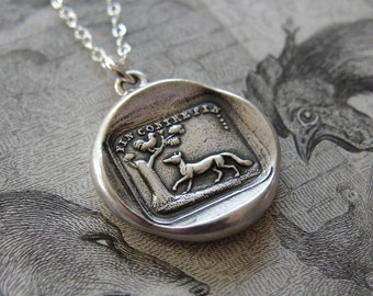 Aesop fable Fox and Rooster wax seal necklace - antique French wax seal charm jewelry by RQP Studio