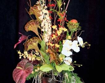 Tall Permanent Botanicals Arrangement, Silk Flowers Fall Tones, Exotic Unusual Bouquet, Event Flowers
