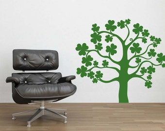 Tree Decal, Ireland Decor, Irish Decor, Four Leaf Clover, 4, St Patricks Day Decorations, Wall Decal, Wall Decor, Home, Office, Dorm Decor