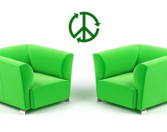 Peace Sign, Recycle, Green Footprint, School, Foot Print, Club, Hippie, Vinyl Sticker, Wall Decal, Wall Decor, Home, Dorm, Office Decor