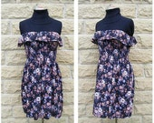Mini Dress Strapless Shirred Black Floral Brown Cream Lilac Boho Bohemian Spring Summer Festival Girlie
