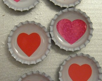 Hearts Bottlecap Magnet 6-Pack No. 12