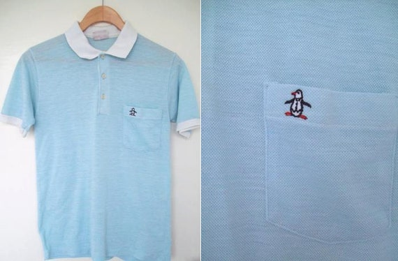 Vintage 1970s Penguin Grand Slam Baby Blue and White Polo Shirt Size Small