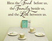 Kitchen Wall Decal - Bless this Food Wall Decal  Before Us  Vinyl Wall Decal - Kitchen Decor Wall Art