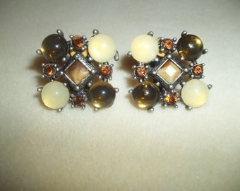 Stunning Brown & Yellow Clip On Earrings Dark Silver With Faceted Center Stones