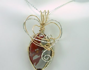Sterling & Gold Fill Wire wrapped Mookaite Pendant Necklace w/Silver chain,hand cut stone